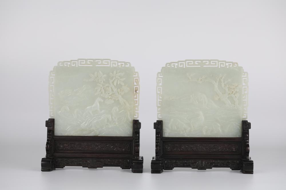 18th,A pair of poems and white jade Chinese screens