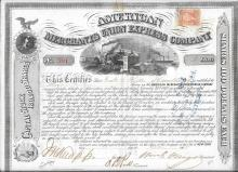 American Express and Wells Fargo founder signs a stock certificate