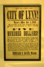 1859 Lynn Massachusetts fire reward broadside