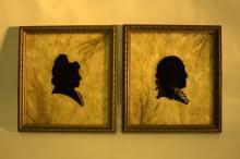 George and Martha Washington silhouette on glass