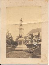 Cabinet card of Derry, NH Civil War statue