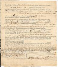 Connecticut slave owner and Indian overseer, signs a court document for Governor Jonathan Trumbull's son, 1801