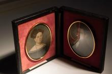 Pair of husband and wife 19th century portraits on miniature