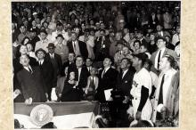 JFK throws out the first pitch