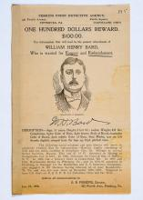 1898 reward poster for forgery and embezzlement