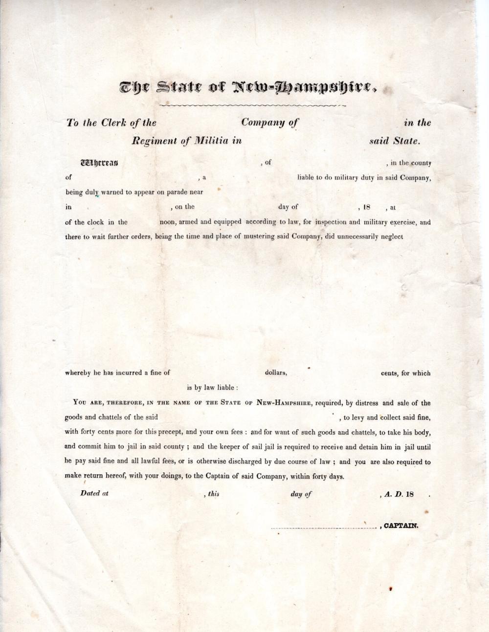 1830 New Hampshire militia form