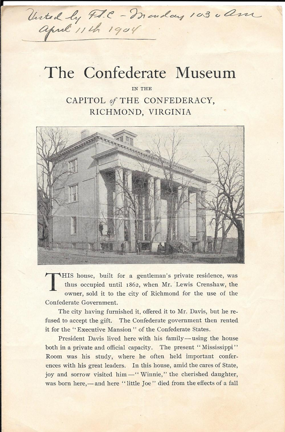 1902 guide to the Confederate Museum, Richmond