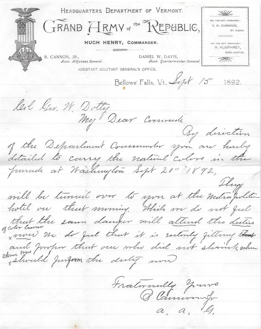 1892 GAR Encampment letter, Col. Doty