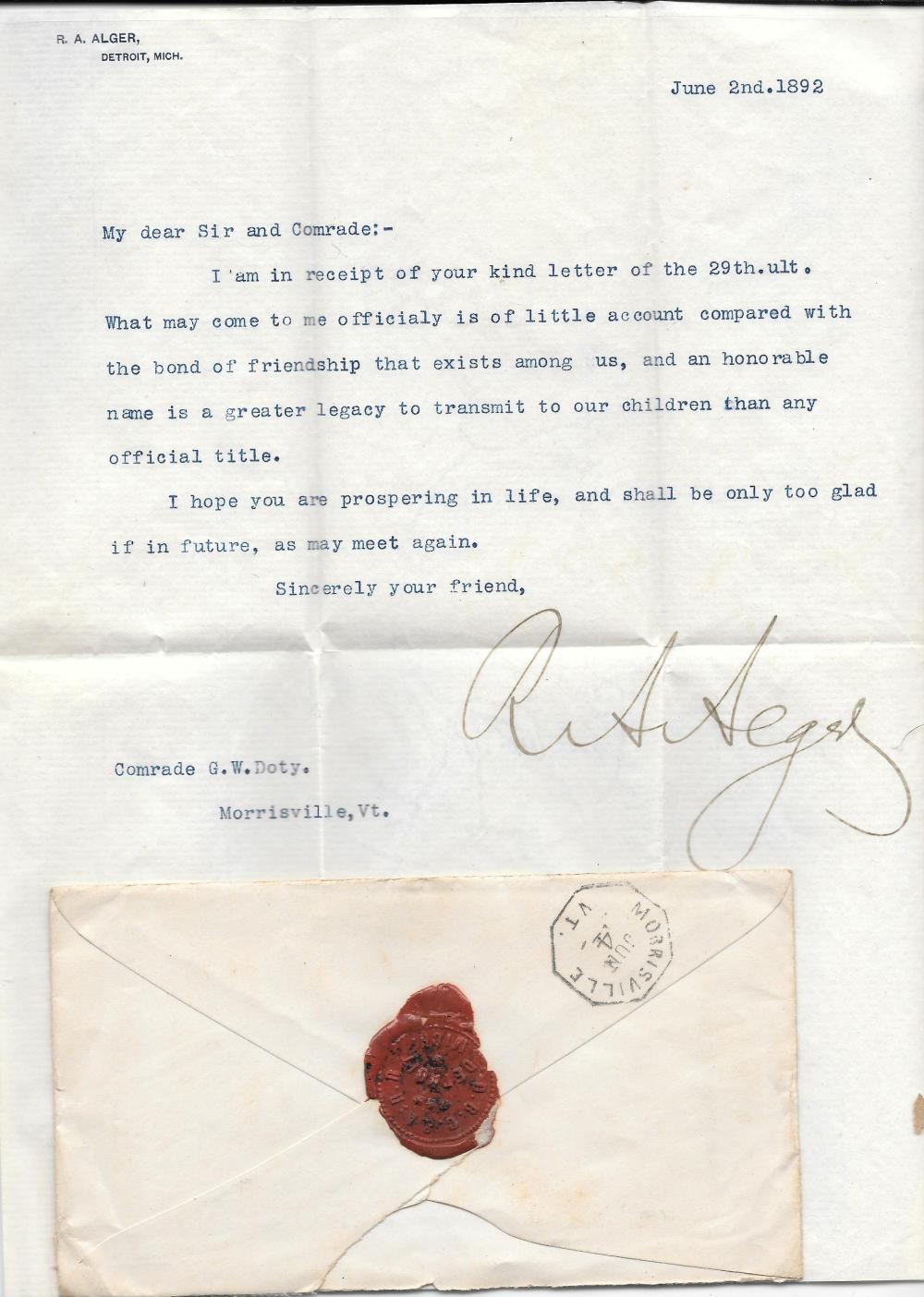 Uncommon railroad wax sealed letter