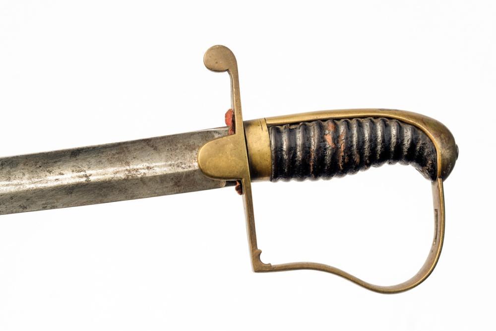 Sword, unknown, D-guard broken leather scabbard