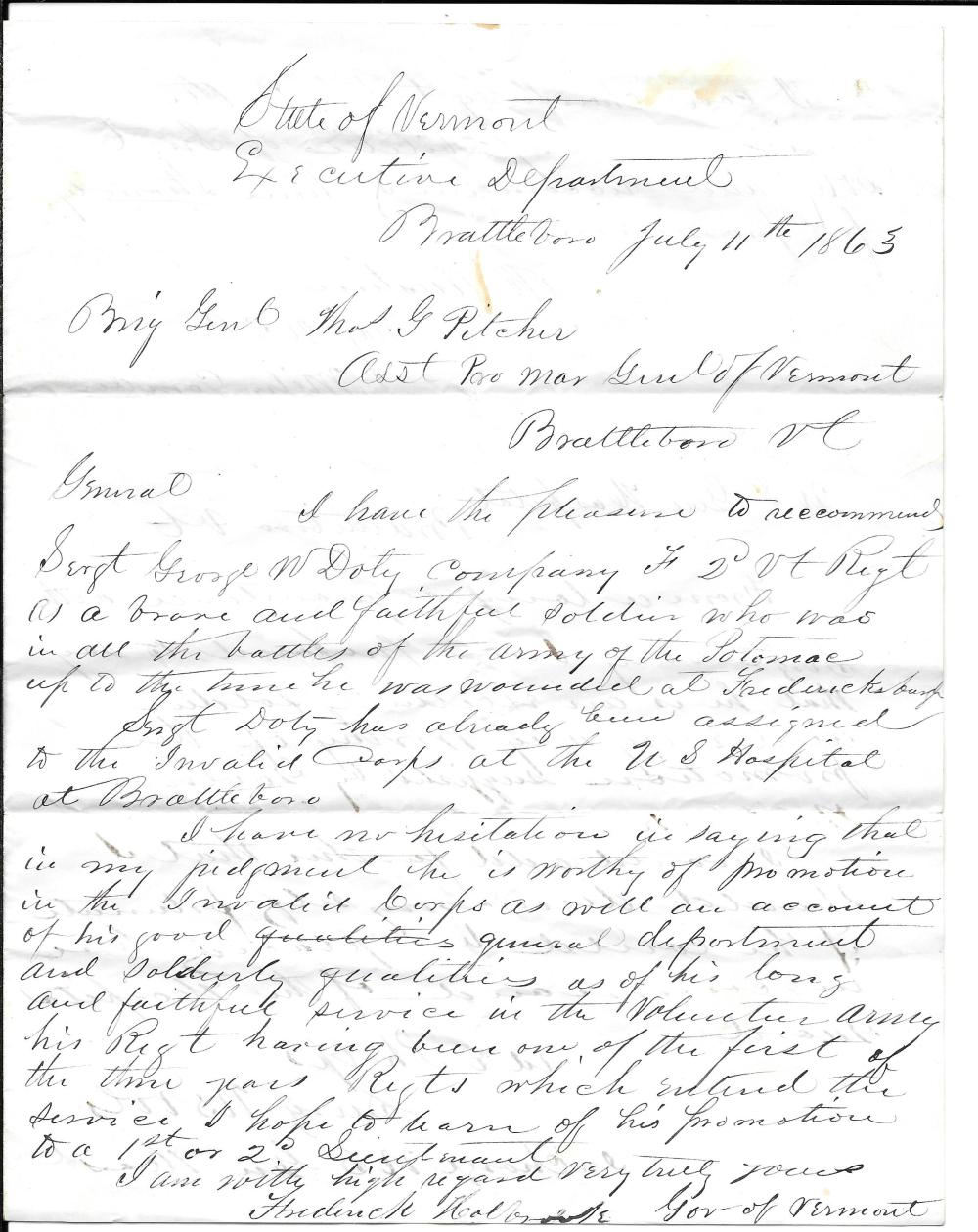 Civil War recommendation letter, Col. Doty