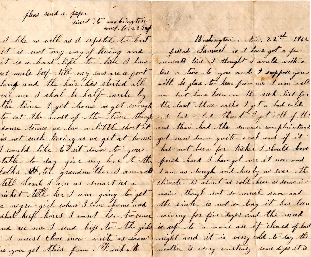 Eating mule beef, Civil War soldier writes home, 1962