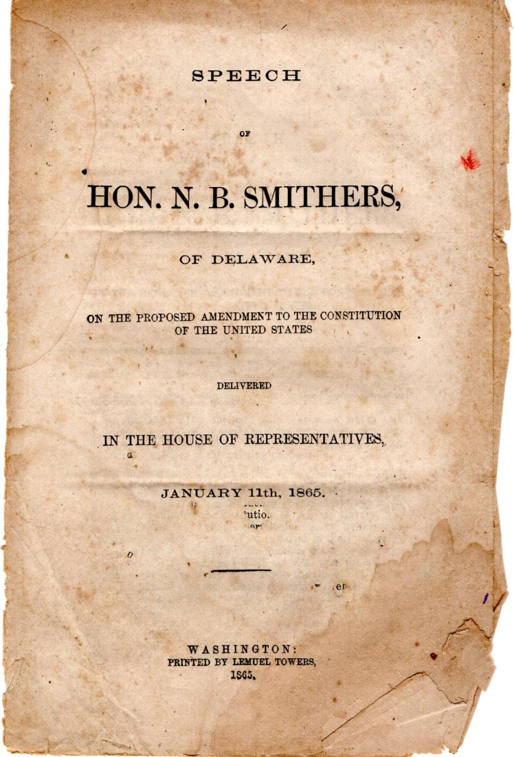 Speech in support of the 13th Amendment, 1865