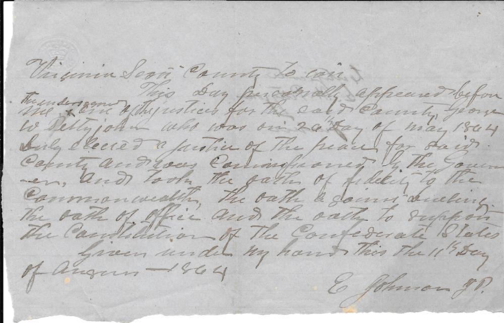 Rare Confederate Oath of Service, 1864