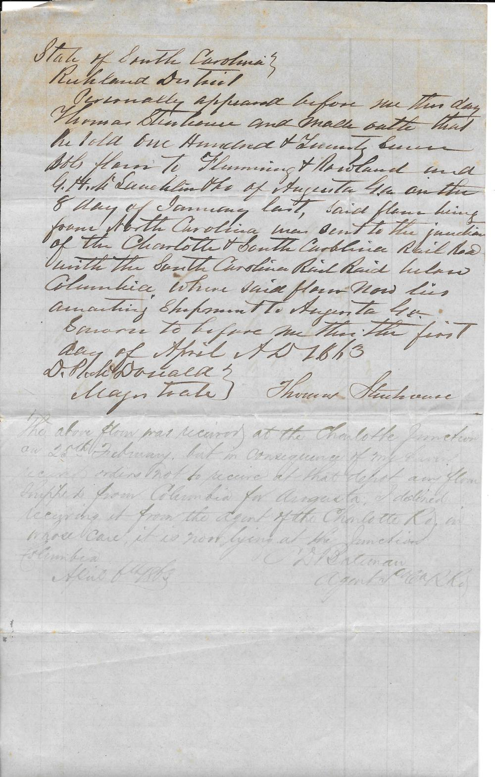 Delay of much needed supplies destined for Confederate troops, 1863 ALS