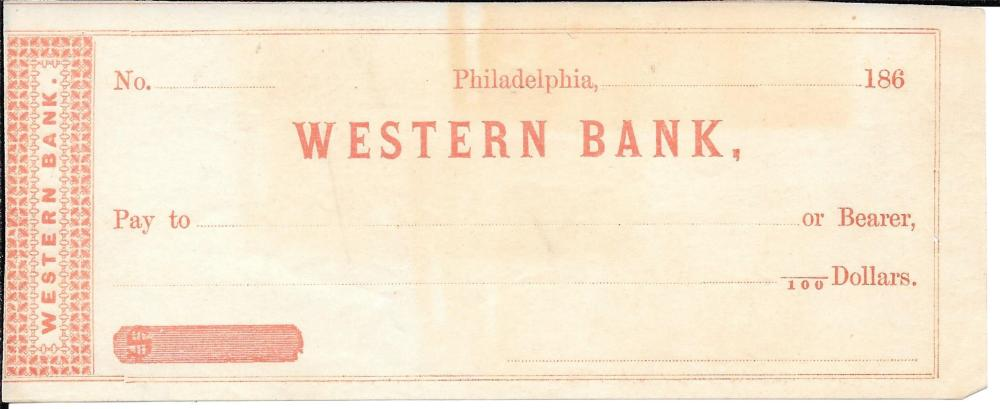 1860s Civil War check, Western Bank, Philadelphia