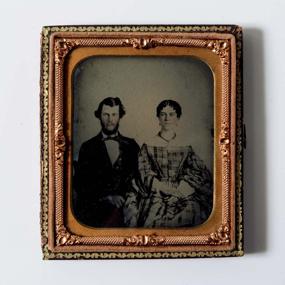 Ambrotype of a dashing couple, 1860s.