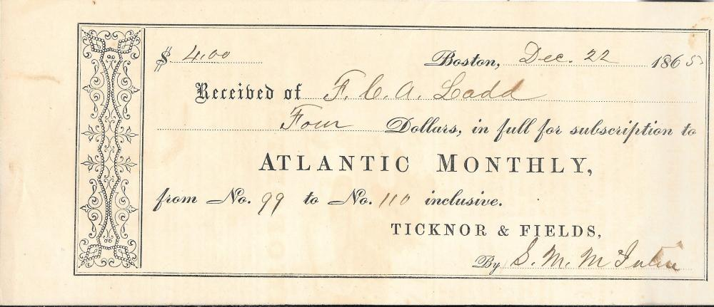 Civil War era Atlantic Monthly receipt