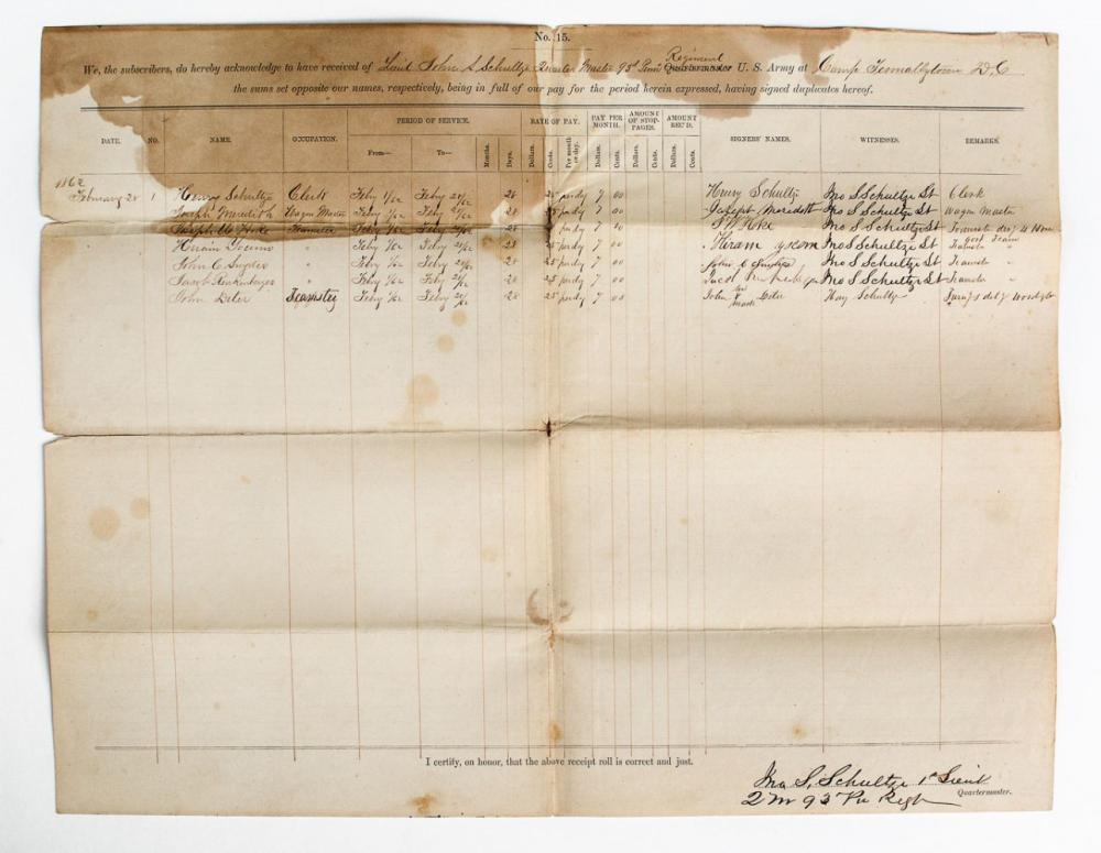 Civil War Roll of Hired Men, 1862