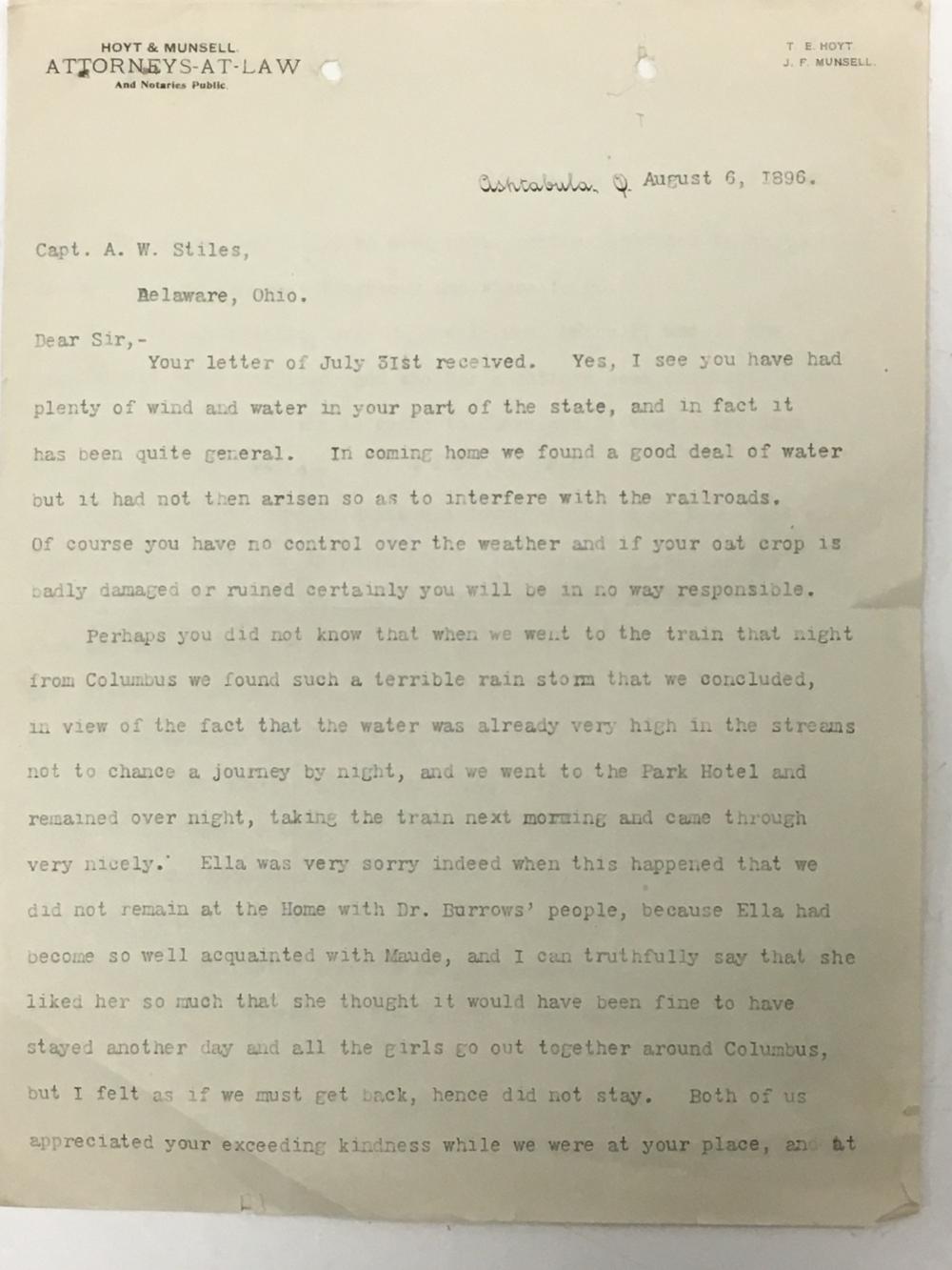 Ohio 29th writes to Ohio 6th Cavalry, 1896