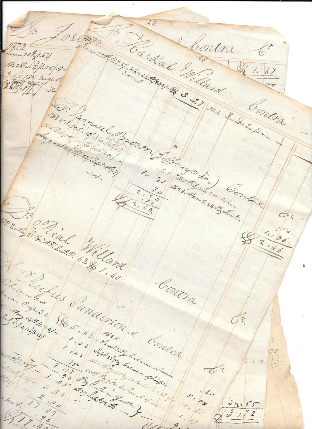 1822 ledger leaves, Military
