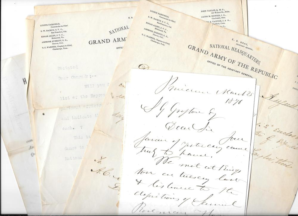 Archive of GAR documents, 1880s