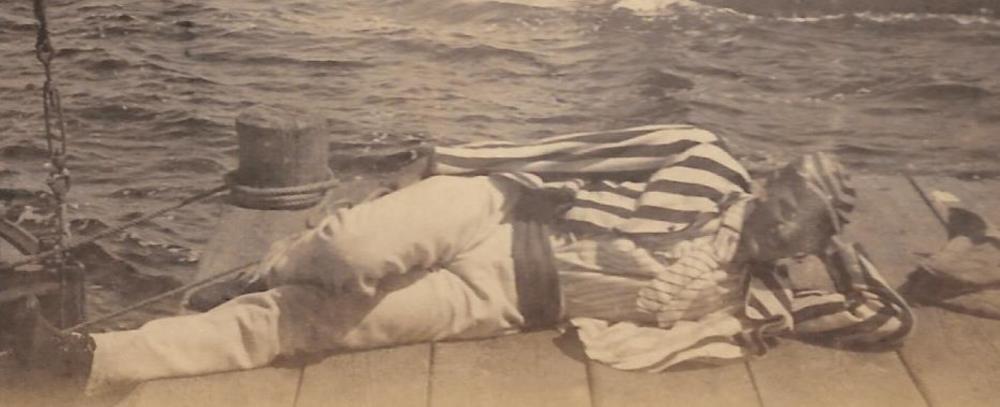 Fabulous man lying dockside at the harbor