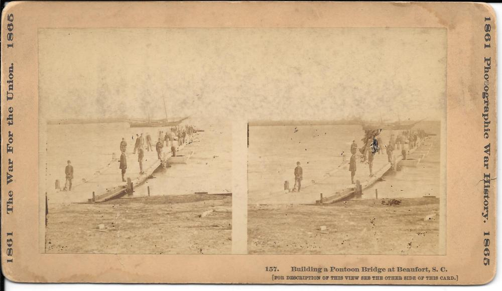 Civil War stereoview, Pontoon Bridge