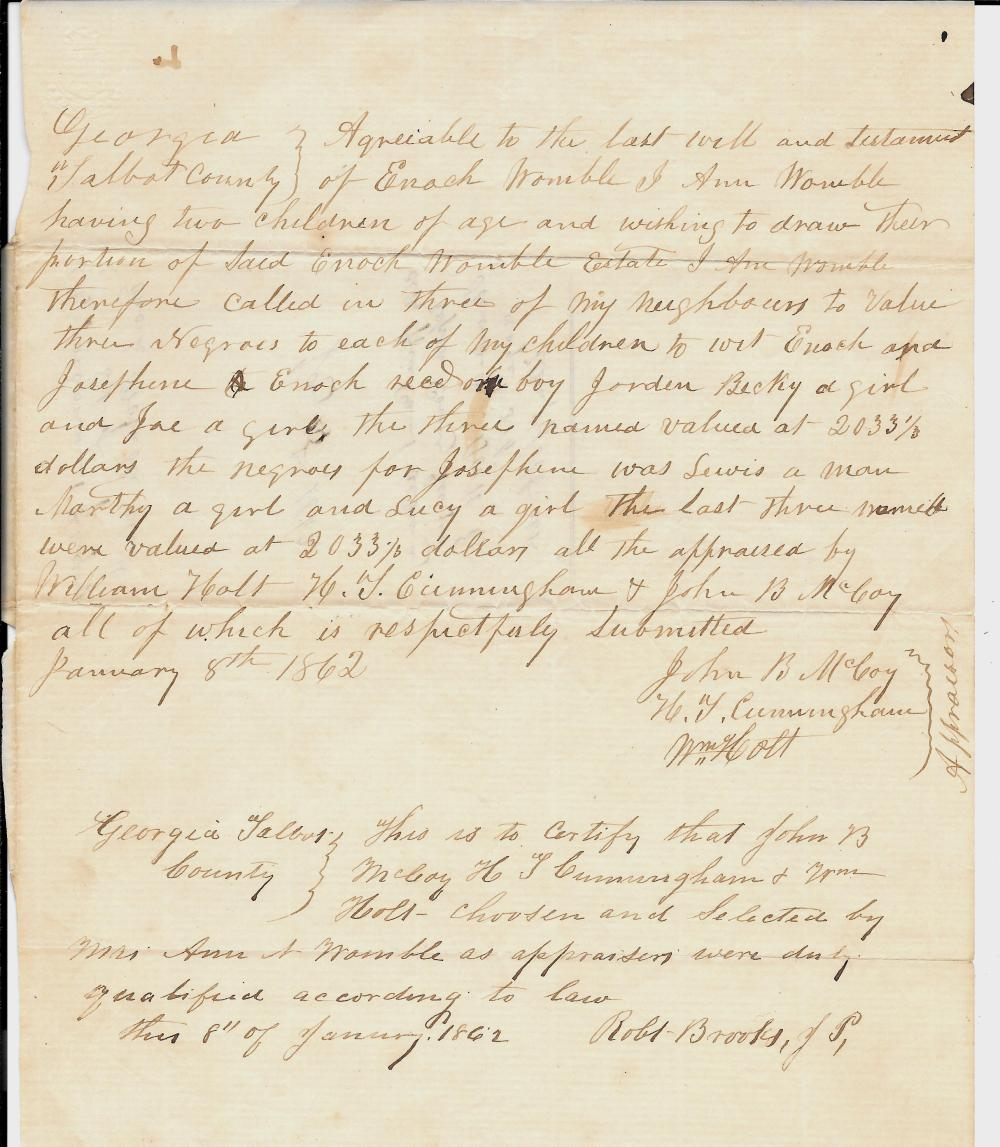 1862 slavery document assigning six slaves