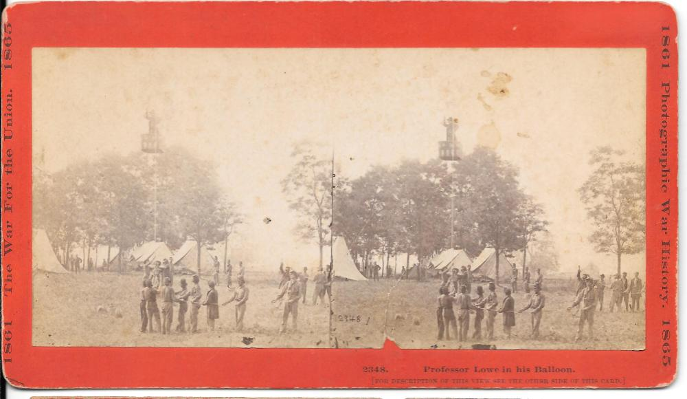 Professor Lowe scouting from his balloon, Civil War stereoview