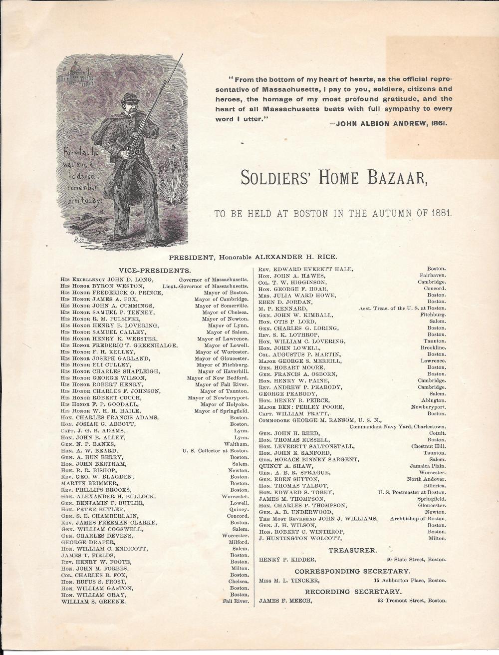 Soldier's Home Bazaar broadside