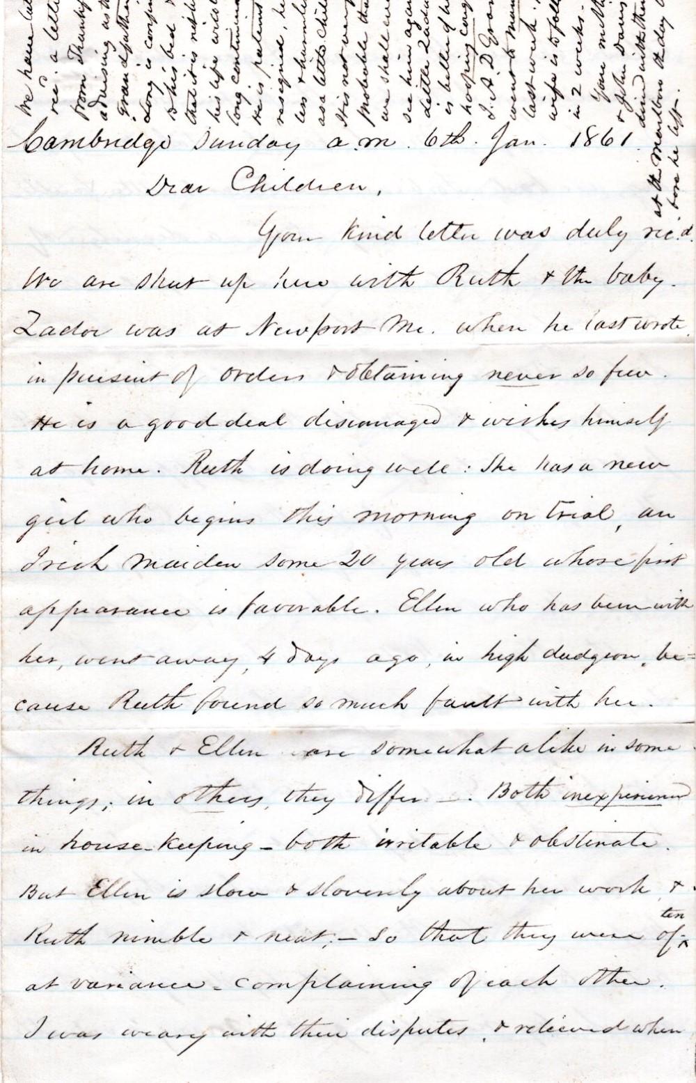 Letter written on eve of Civil War, 1861