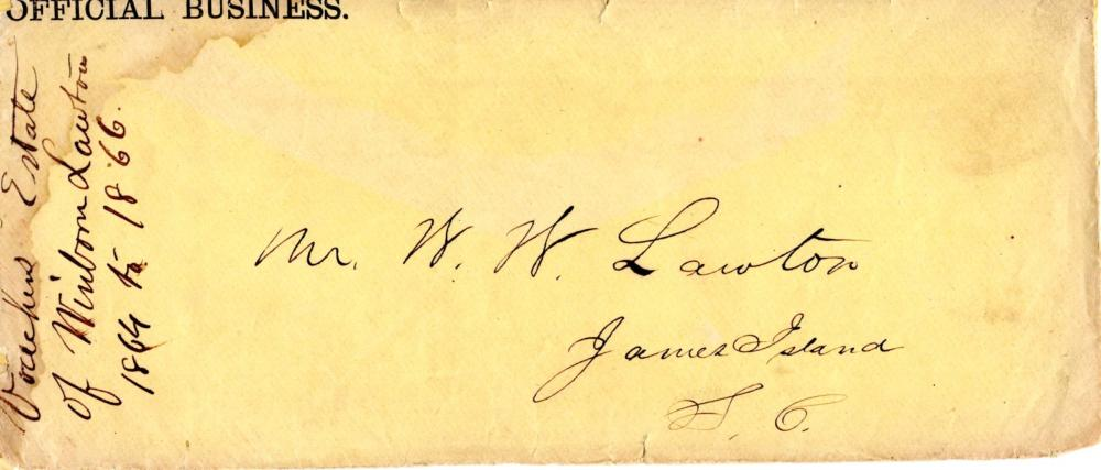 Civil War era cover for Winborn Lawton, James Island plantation and slave owner