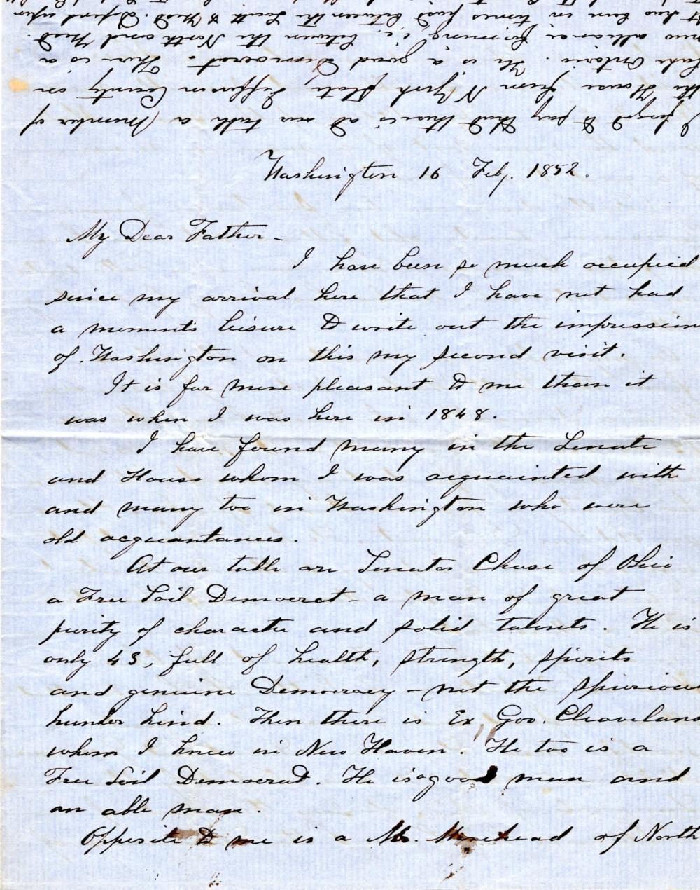 Free Soilers letter, 1852