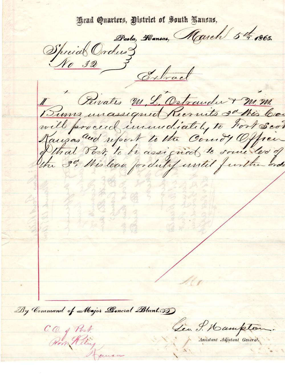 Fort Scott Civil War orders, 1865