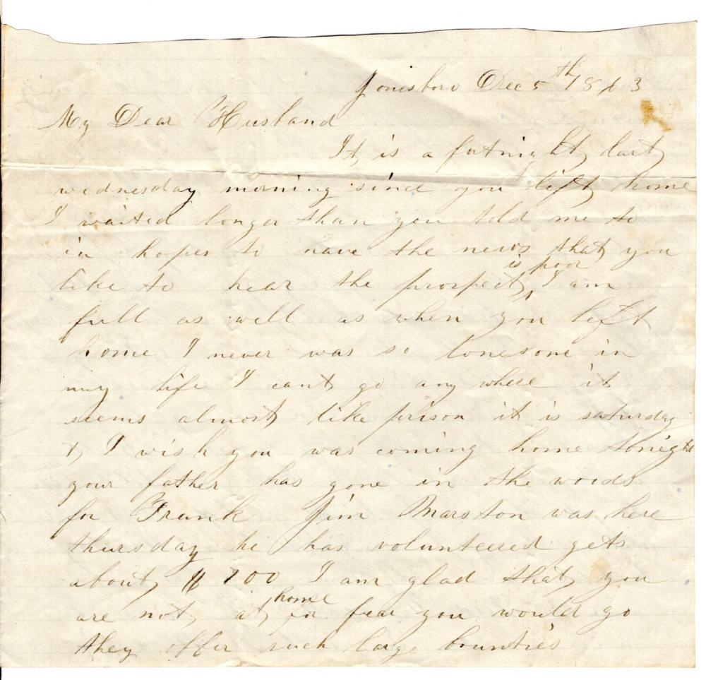 Civil War soldier contracts VD from a loose woman, 1863 letter