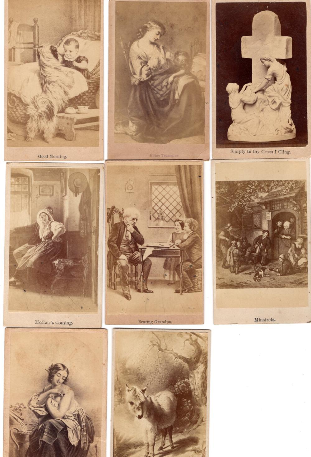 1860s novelty CDVs, lot of 8