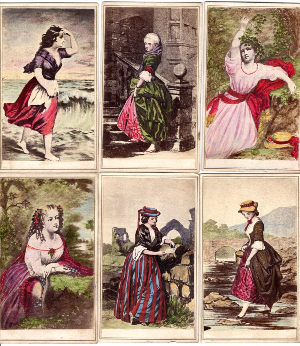 Hand colored CDVs of women, lot of 6