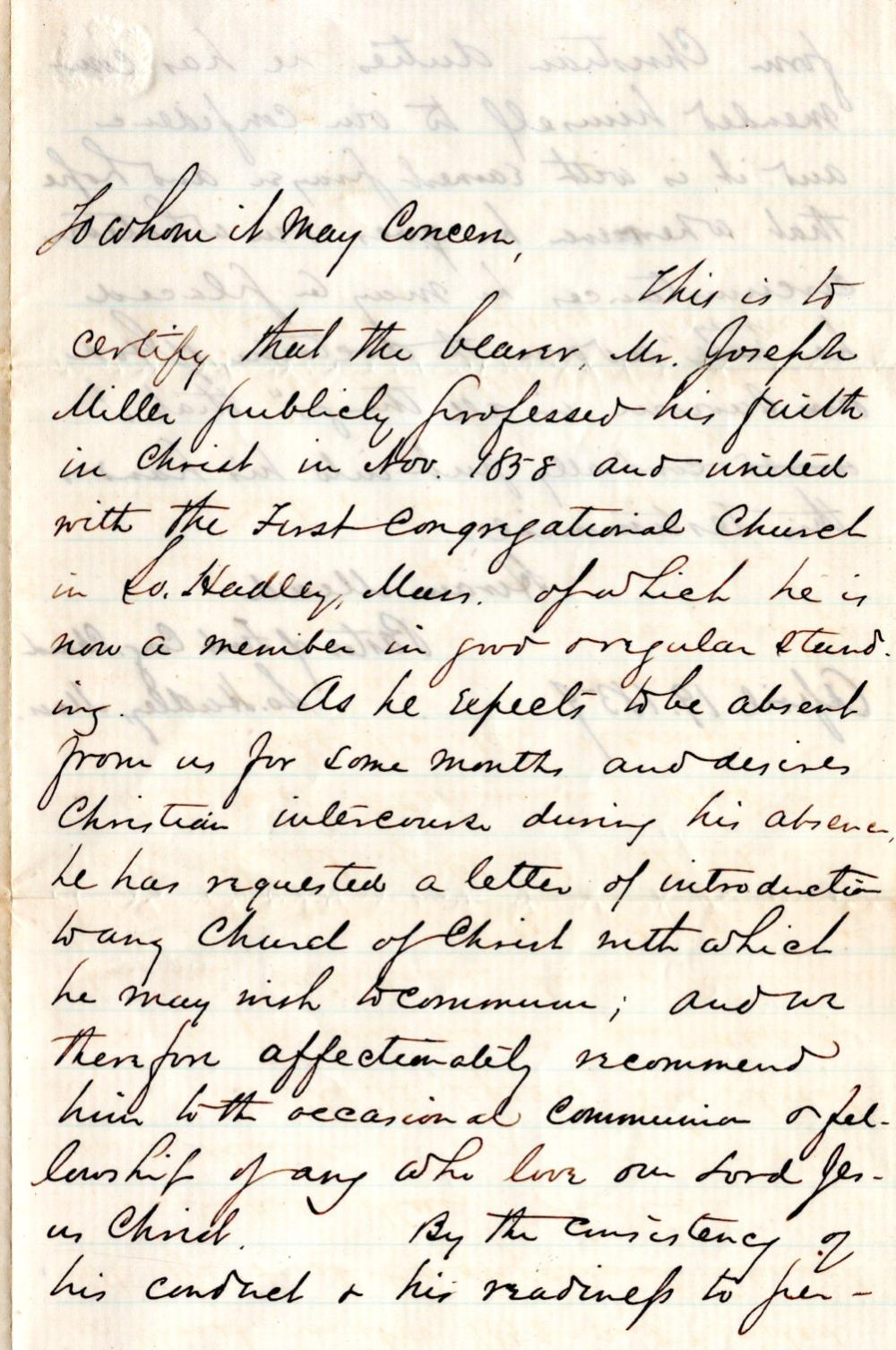 Deeply Christian letter, carried by soldier who died at Andersonville