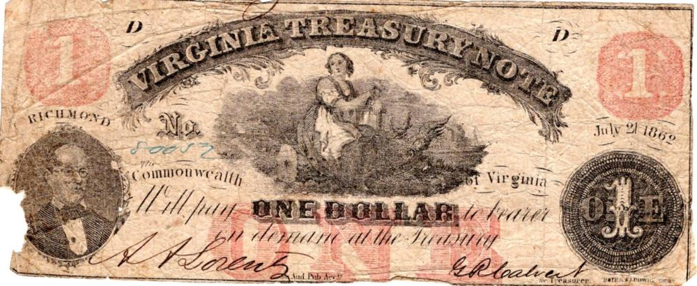 Confederate currency, $1, 1862