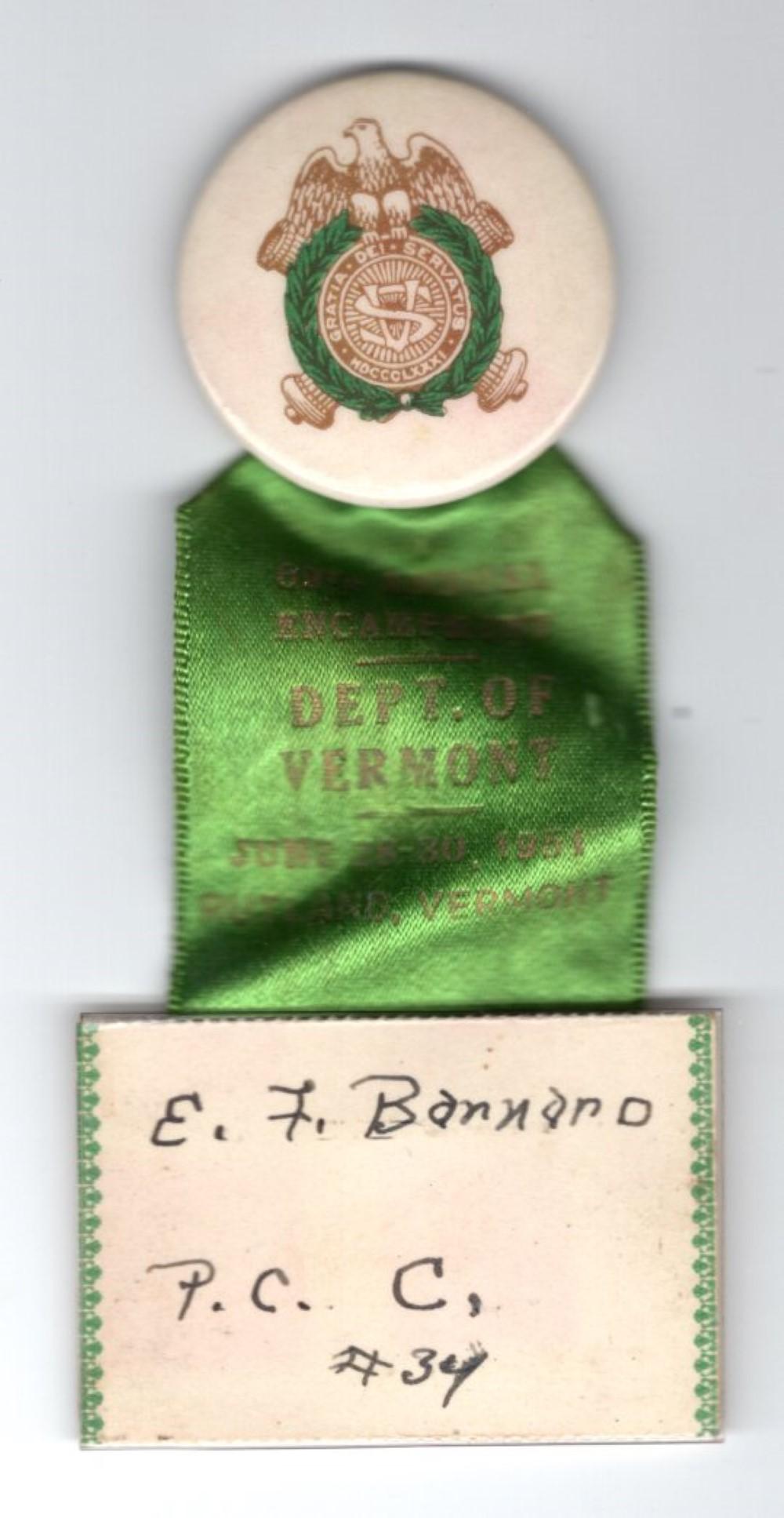 Sons of Union Veterans Vermont ribbon, 1951