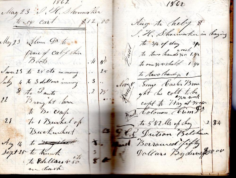 Civil War account book, Otsego, Michigan