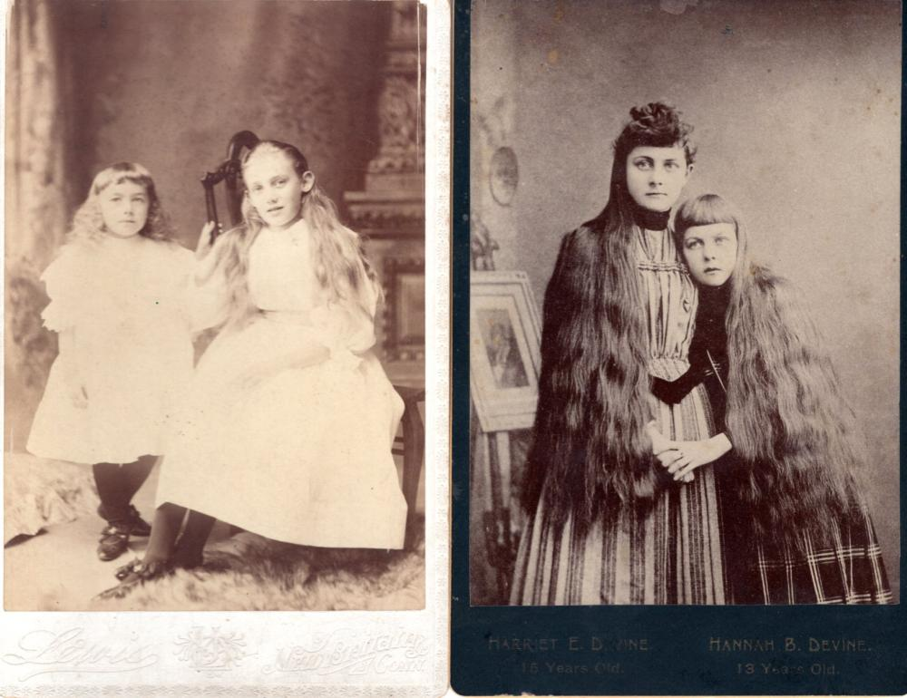 1880s cabinet cards of girls with long hair