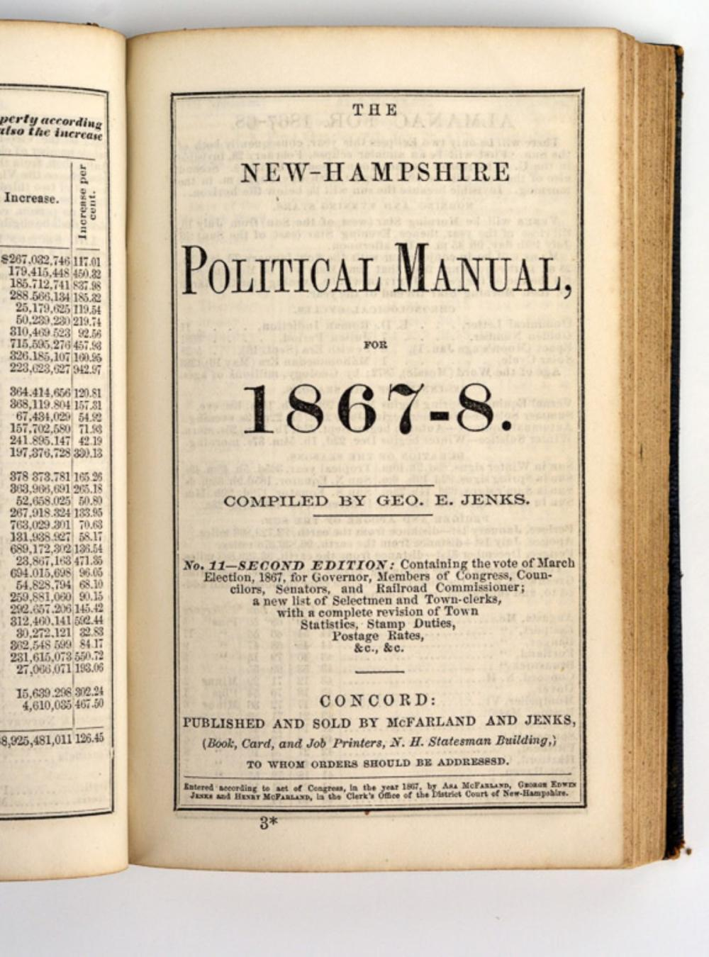New Hampshire rulebook belonging to Civil War General Stevens