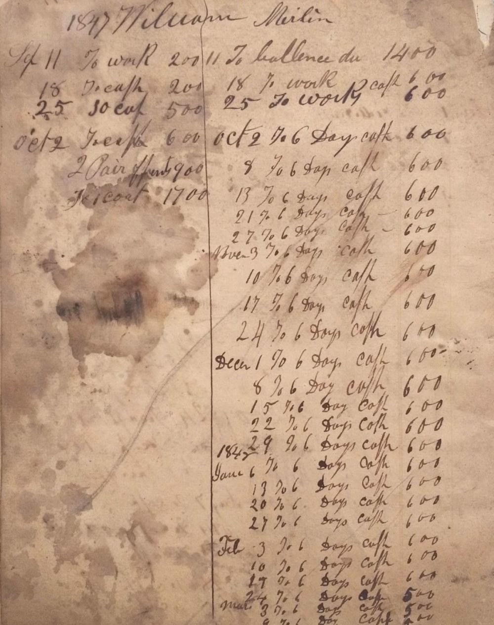 Pre-Civil War work diary