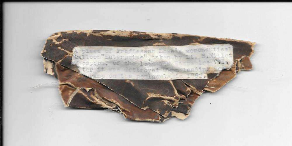 A fragment of Thaddeaus Lowe's balloon, Enterprise, crashed in 1862