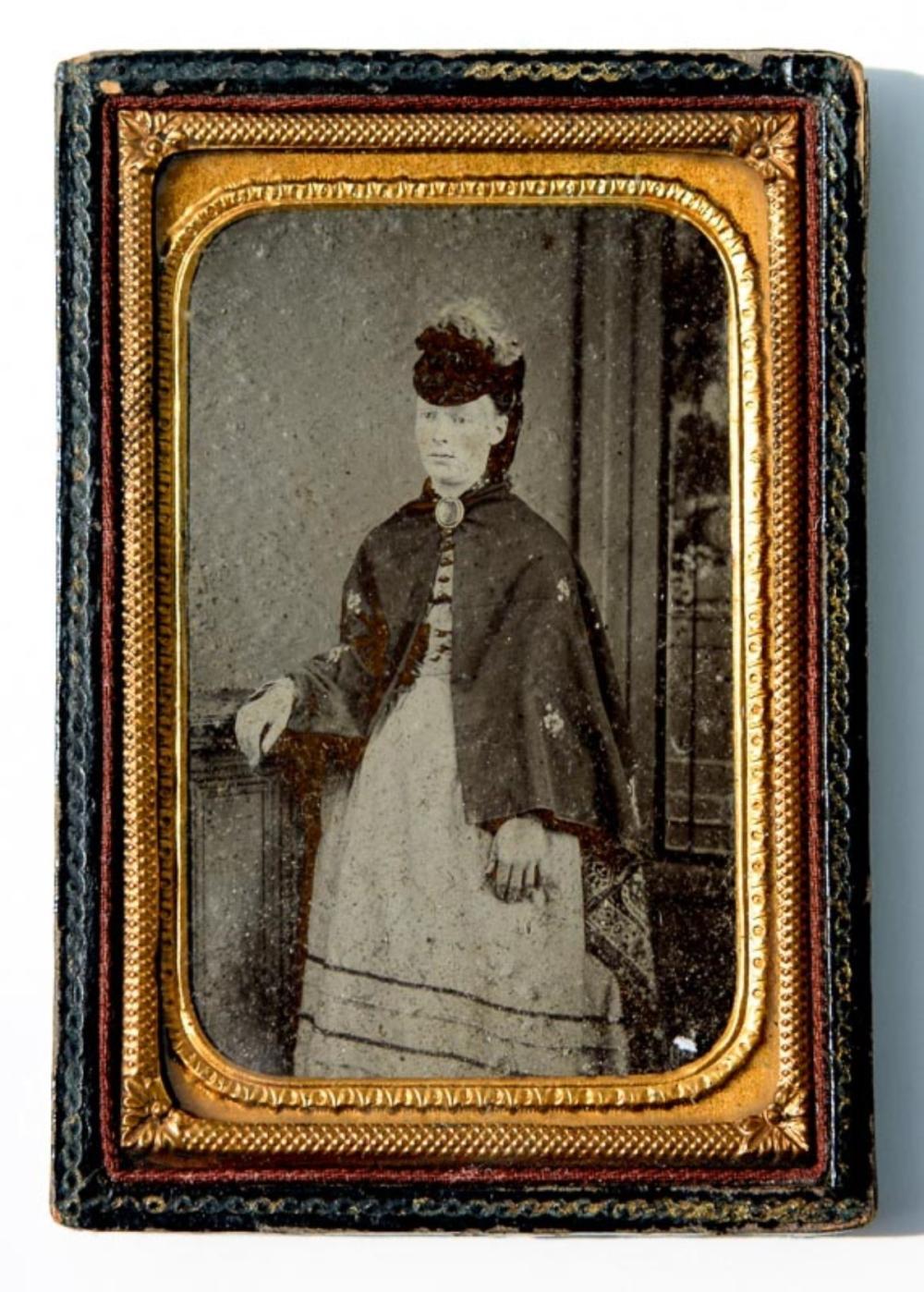 Leather tintype frame, Civil War era, 1860s