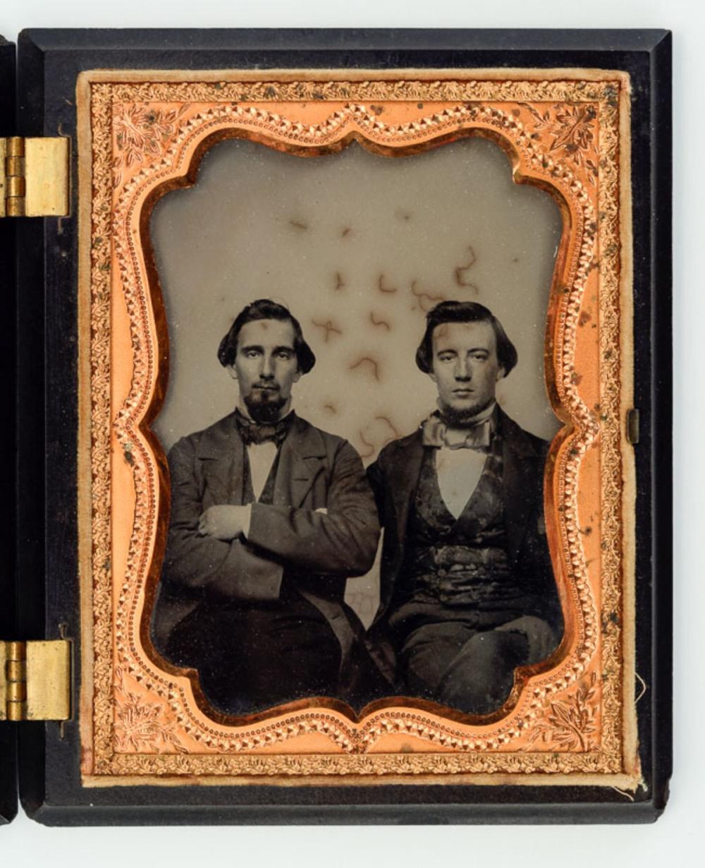 Half plate ambrotype, Civil War veteran missing one arm