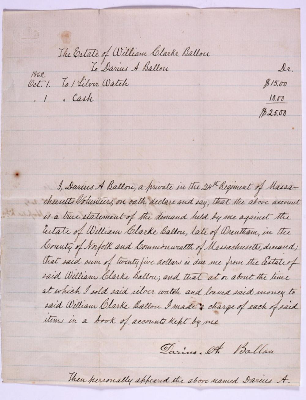 Civil War manuscript with a 3c green telegraph stamp