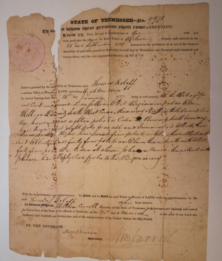 Battle Of New Orleans Signed By Major General William Carroll